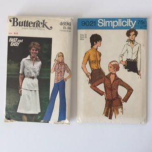 2 Vtg 70's 80's Sewing Patterns Skirt Pants Tops